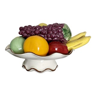 Ceramic Hand-Painted Large Fruit Basket With Gilt Accent For Sale