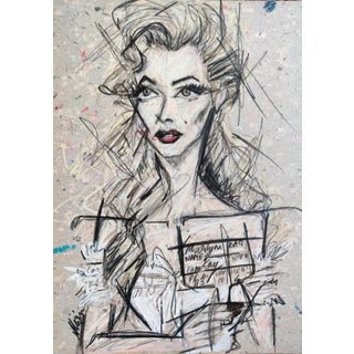 Contemporary Portrait of Marilyn Monroe Work on Paper by Shirin Godhrawala For Sale