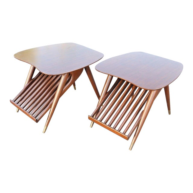 Danish Modern Magazine Rack Side Tables - A Pair - Image 1 of 11