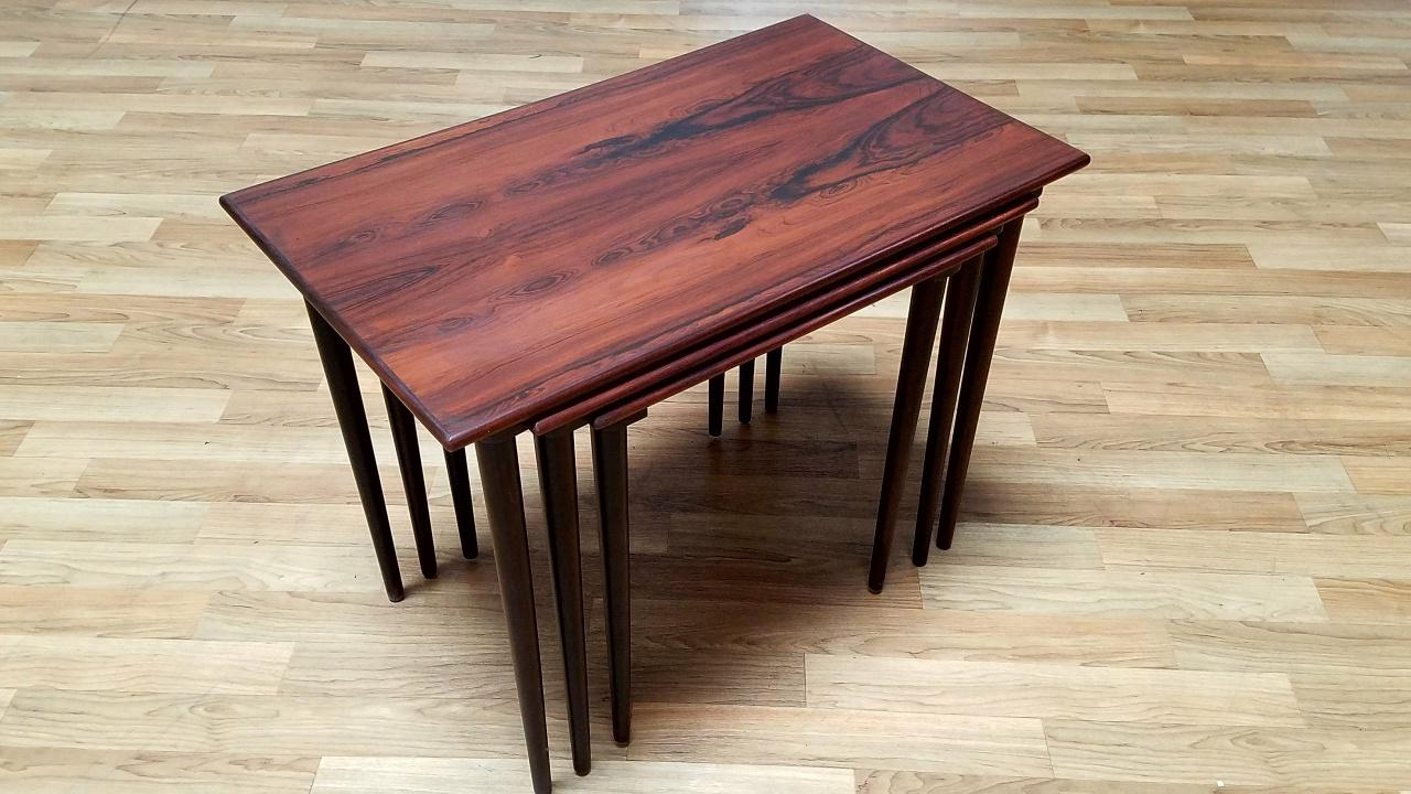 Westnofa Mid Century Rosewood Nesting Tables   Set Of 3   Image 2 Of 11