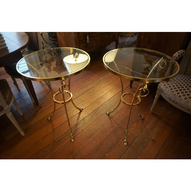 Mid-Century Brass and Glass Top Gueridon Tables - a Pair For Sale - Image 9 of 9