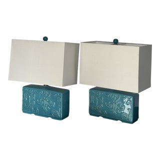 Modern Turquoise Lamps - One of Two For Sale