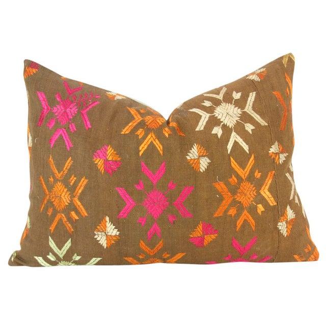 Vintage Lumbar Bagh Phulkari Pillow - Image 3 of 4