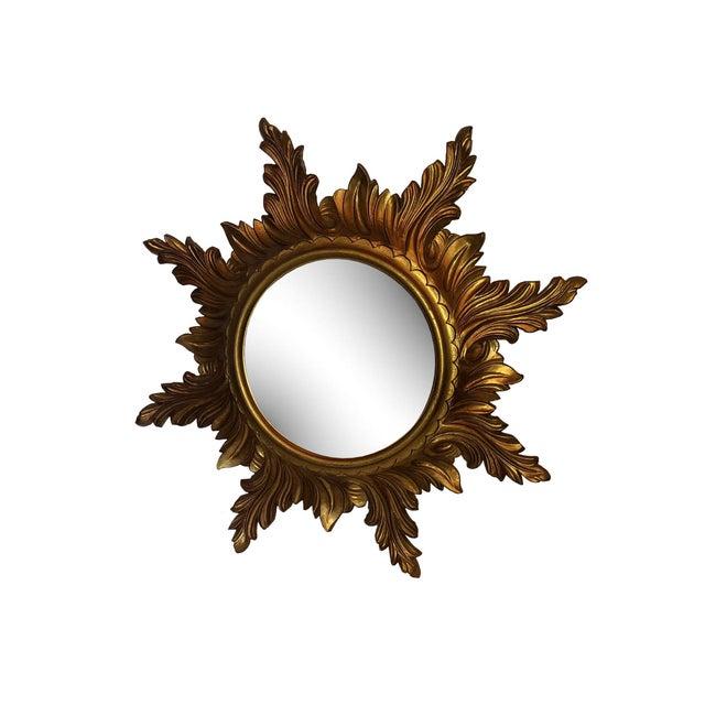 Italian Mid Century Gold Italian Sunburst Mirror For Sale - Image 3 of 6