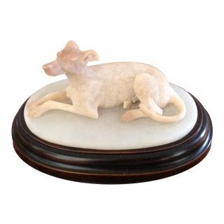 Antique English Carved Alabaster Dog Figurine For Sale