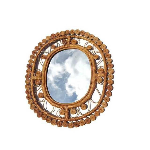 Vintage Rattan & Bamboo Peacock Curl Mirror - Image 8 of 8