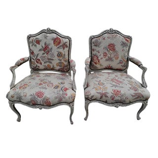 Pair French Needlepoint Bergeres Antique Pair of Shabby French Country Armchairs For Sale