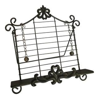 Dark Verdigris Wrought Iron Fleur De Lis Book Cookbook Display Stand