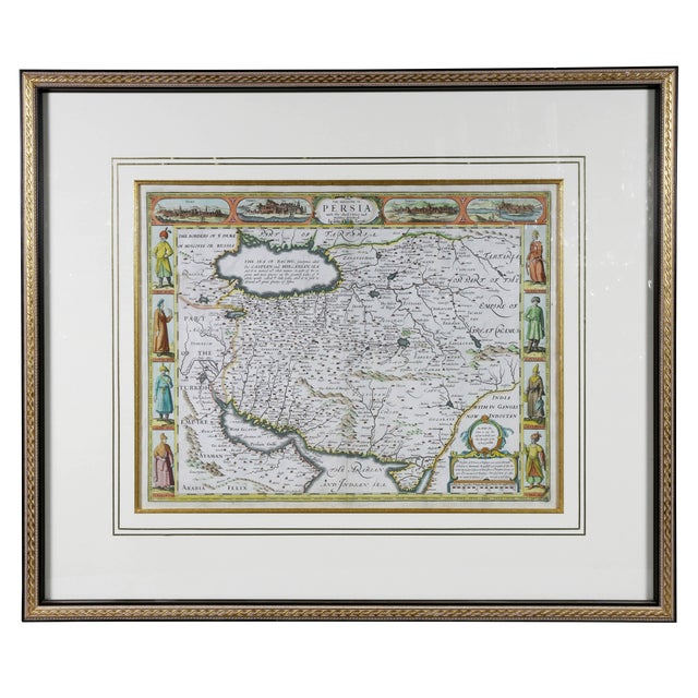 Framed Hand Colored Map of Persia by John Speed For Sale