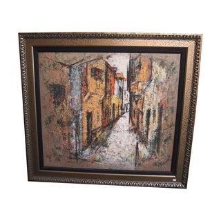 Signed Oil Abstract Italian Village Scene Painting