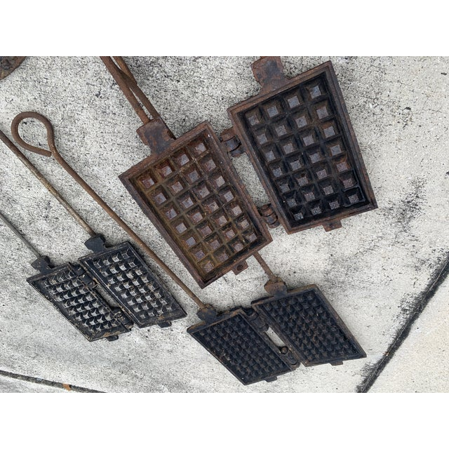 Antique Waffle Irons & Wood Burning Stove Lid - Set of 4 For Sale - Image 10 of 12