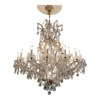 French Large 24-Arm Crystal Chandelier For Sale