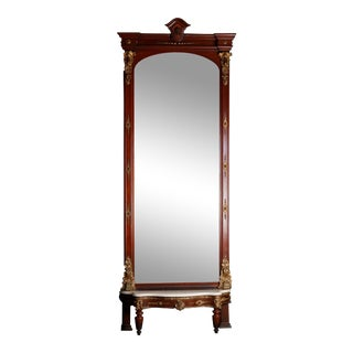 Monumental Antique Parcel-Gilt Walnut Pier Mirror with Carved Jenny Lind For Sale