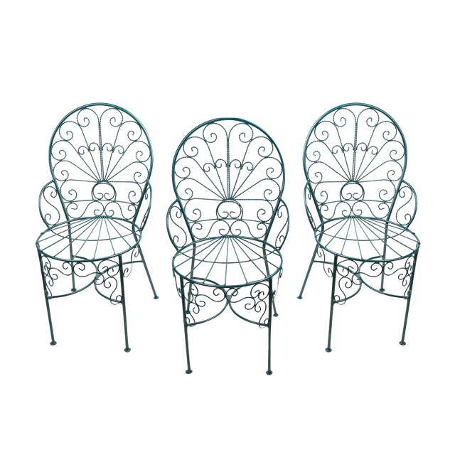 French Twisted Wire Peacock Chairs - Set of 3 - Image 1 of 3