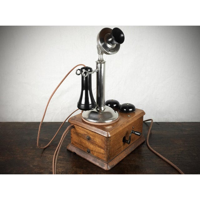 Antique 1910s Nickel Plated Candlestick Telephone - Image 2 of 5