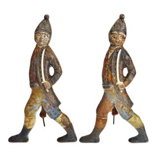 Vintage Hessian Soldier Figural Andirons - a Pair For Sale