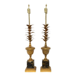 Pair of 1950s Modern Neoclassical Style Gilt and Faux Marble Table Lamps For Sale