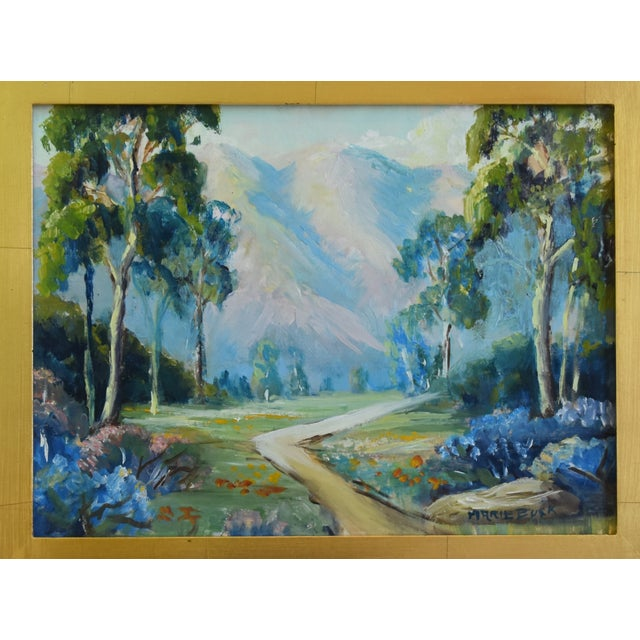 Mountain plein air landscape oil painting on artist panel by artist Marie Buck. Signed lower right. Displayed in a wood...