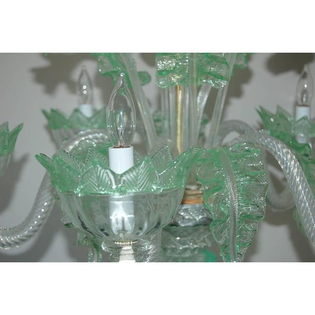 Chandelier Vintage Murano Glass Clear Green For Sale In Little Rock - Image 6 of 10
