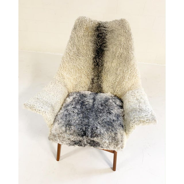 Textile Adrian Pearsall for Craft Associates Chair Restored in Gotland Sheepskin For Sale - Image 7 of 11