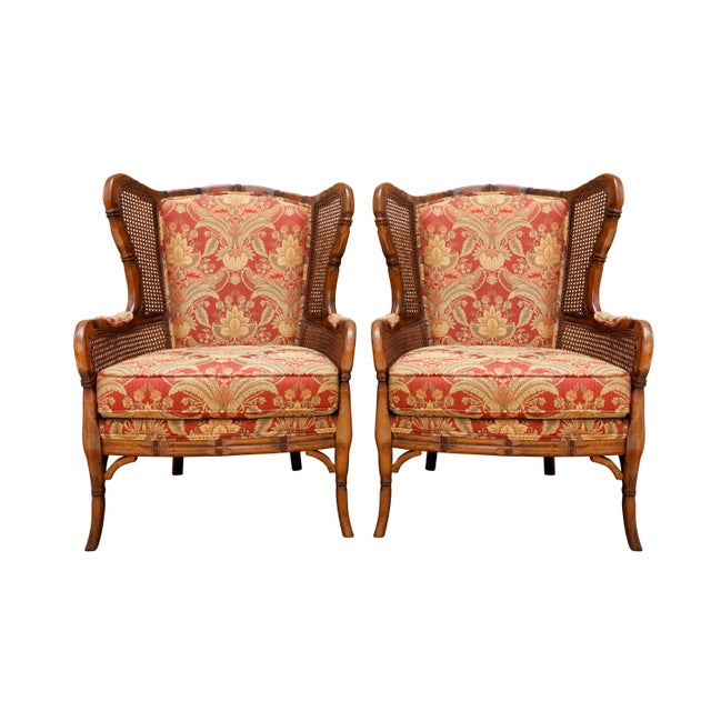 Red Faux Bamboo Caned Wingback Chairs, a Pair For Sale - Image 8 of 8