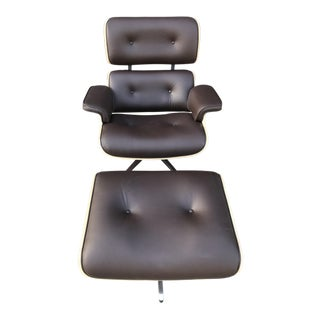 Mid-Century Brown Leather Lounge Chair & Ottoman