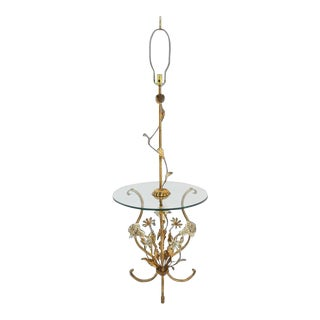 Early 20th Century Decorative Gilt Metal Floor Side Table Lamp For Sale