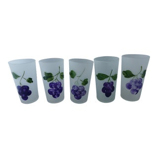 Frosted Juice Glasses With Grape Design - Set of 5 For Sale