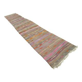 1970s Handmade Pink, Green, Orange Color Turkish Stair Kilim Rug Runner - 2′8″ × 16′2″ For Sale
