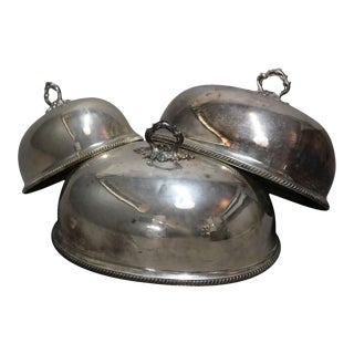 19th Century Graduated Sheffield Silver Plate Cloche Serving Domes - Set of 3 For Sale
