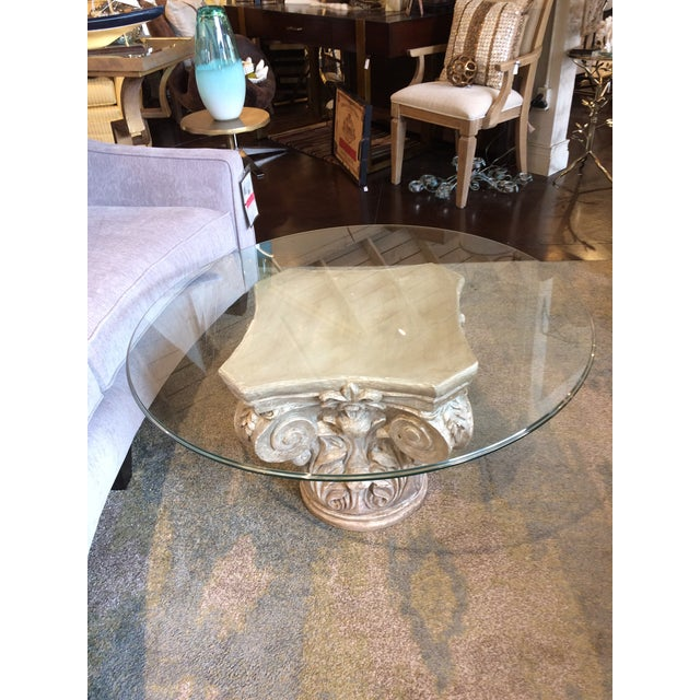 2010s Parisian Capitol Round Glass Table For Sale - Image 5 of 7