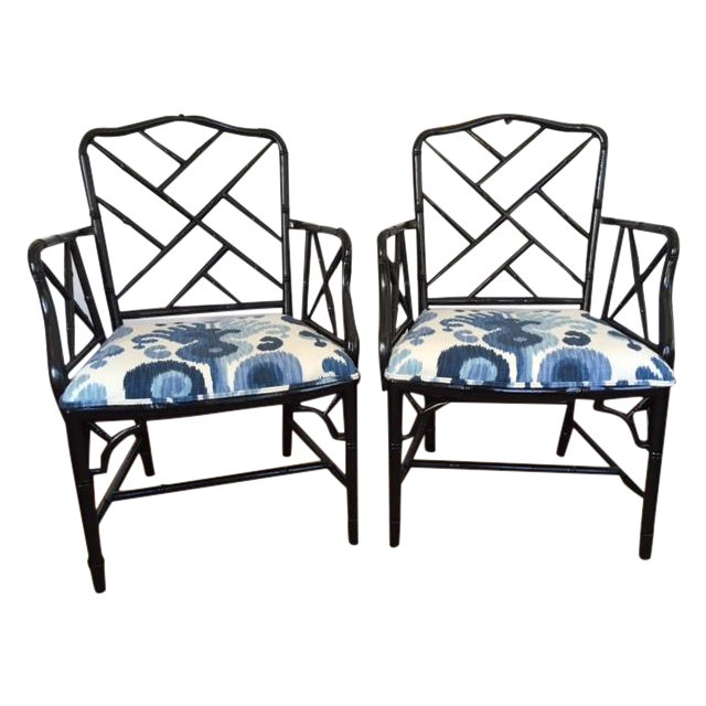 Chinese Chippendale Faux Bamboo Chairs - A Pair - Image 1 of 9