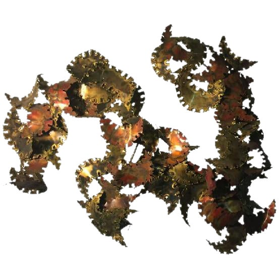 AMAZING ABSTRACT TORCH CUT WALL-MOUNTED SCULPTURE BY SILAS SEANDEL, CIRCA 1970 For Sale