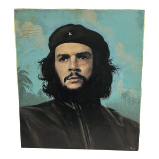 Oil on Canvas Portrait of Che Guevara For Sale