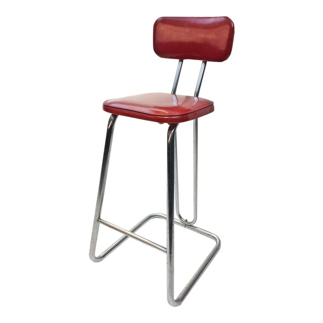 Mid Century Modern Red Vinyl Bar Stool - Image 1 of 11