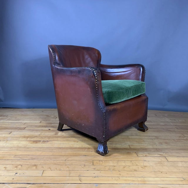 Early 1940s Danish Cognac Leather Club Chair, New Mohair For Sale - Image 10 of 10