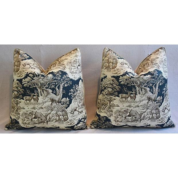"""25"""" Custom Tailored Woodland Toile Deer & Velvet Feather/Down Pillows - Pair For Sale In Los Angeles - Image 6 of 11"""