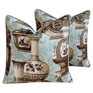 "Custom Chinoiserie Vase Feather/Down Pillows 23"" Square - Pair For Sale"