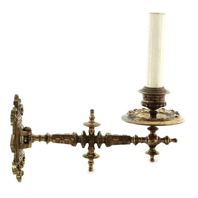 Traditional Gold Over Bronze French Piano Sconce For Sale - Image 3 of 8