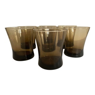 Mid Century Modern Smoke Brown Glasses - Set of 7 For Sale