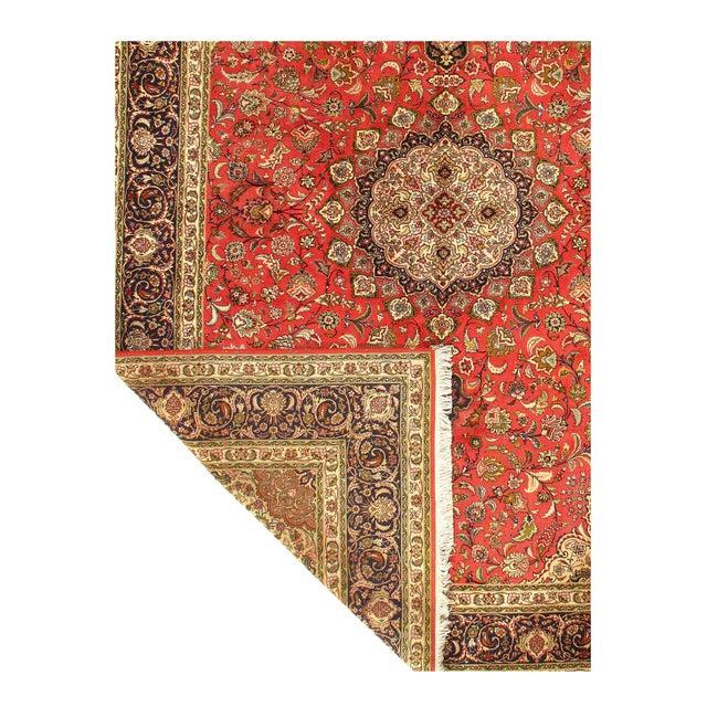Rust Persian Silk&wool Tabriz 8'2'' X 11'3'' For Sale - Image 4 of 5
