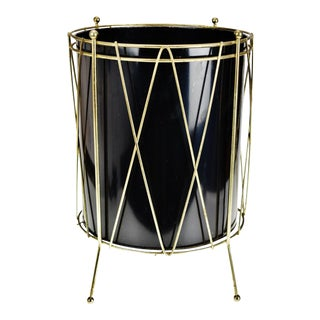 Vintage Black Metal Drum Look Wastebasket For Sale