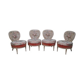 Hollywood Regency Vintage Set of 4 Paint Frame Club Lounge Chairs For Sale