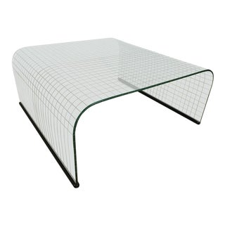 Waterfall Grid Pattern Glass Coffee Table For Sale