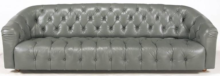 Baker Slate Grey Button Tufted Leather Sofa   Image 9 Of 9