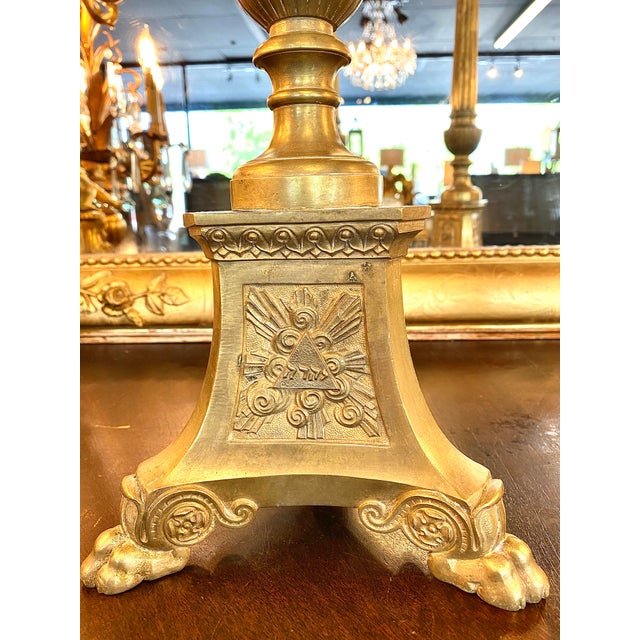 Figurative 19th. Century Brass Cathedral Candlesticks - a Pair For Sale - Image 3 of 8