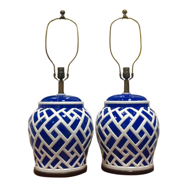 Frederick Cooper Blue & White Ginger Jar Lamps - A Pair For Sale