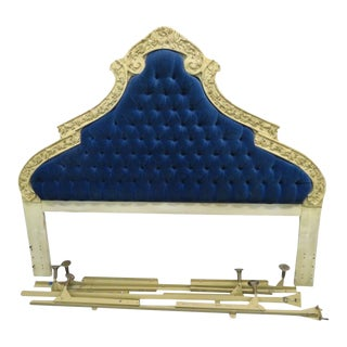 20th Century Louis XVI Blue Tufted Headboard For Sale