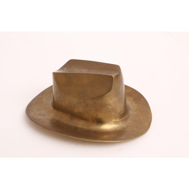 Vintage Brass Cowboy Hat Paperweight For Sale - Image 4 of 6