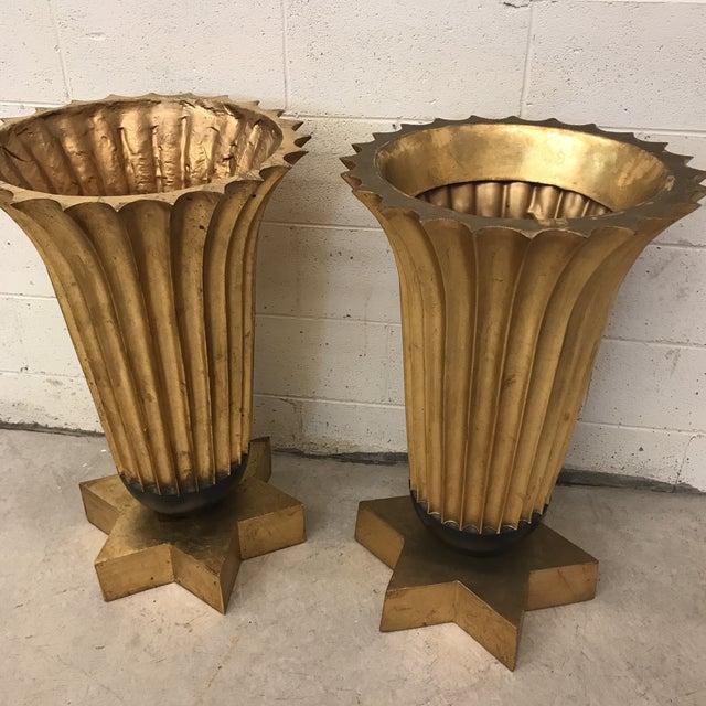 Gold Leaf Fiberglass Urns - A Pair - Image 10 of 11